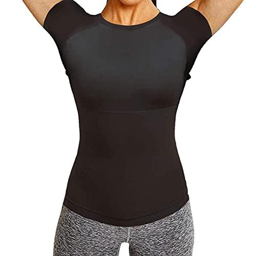 Ypnrd Mujeres Adelgazante Entrenador Fitness Sudaderas Sauna Camiseta Sauna Mujeres Manga Corta,Negro,M