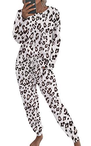 Spec4Y Pyjama Damen Zweiteilige Nachtwäsche Tie Dye Druck Langarm Oberteil Lang Hose Schlafanzug Loungewear mit Taschen 2035 Leopard Large