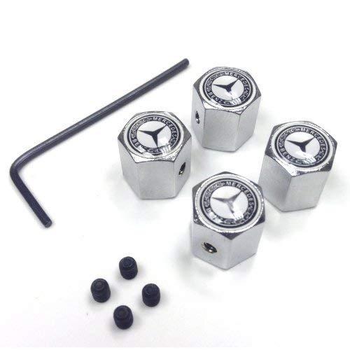 Tapas antirrobo para válvulas de ruedas, de eMarkooz, con cromado y llave en L