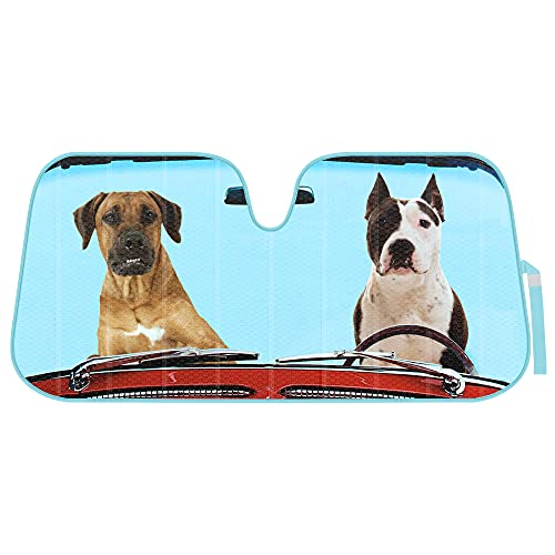2 Dogs Driving Front Windshield Sun Shade - Accordion Folding Auto Sunshade for...