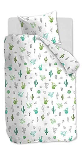 Renforcé Bettwäsche Kakteen Meeresgrün 135 x 200 cm + 1x 80 x 80 cm 1 Bettbezug, 1 Kissenbezug