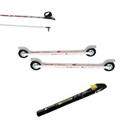Ski Skett Série Ski Roue, Ski Roue Elite Skate ALU PL, Fixations Salomon Profil SK, bâtons pour Ski Roue Long. 165 cm.
