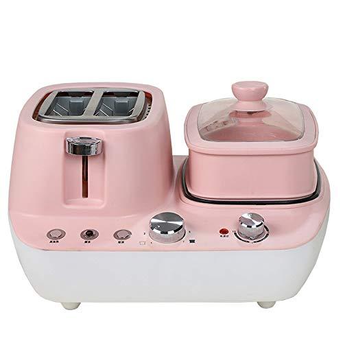 3In1frühstücksmaschine Toaster Backofen Eierkocher Mit Eierkocher Edelstahl Miniofen Kompakter Frühstücksofen Für Toasten/Eierkochen/Omelett/Dampfgaren 7-Gang, 15Min Zeit,Rosa