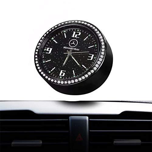 Aufklebbare Auto Logo Diamant Armaturenbrett Uhr Runde analoge Quarzuhr leuchtende Quarzuhren Perfekte Innenverzierung Dekoration für Auto