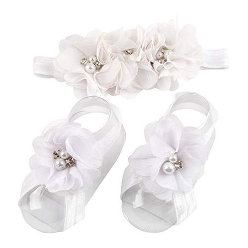 LD DRESS White Baby Girl Foot Flower + Headband(BBFJ-1) (White), Whole: approx. 8 x 5.5cm/ 3.14' x 2.16'