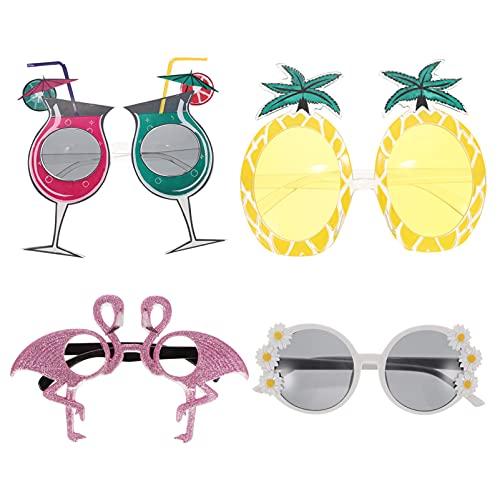 SOIMISS 8Pcs Hawaii Party Brillen Ananas Flamingo Brillen Spaß Obst Sonnenbrille Neuheit Brillen Foto Prop für Sommer Tropical Luau Geburtstag Partei Mixed Stil