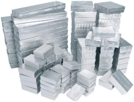 100 Silver Cotton Filled Boxes Assorted Sizes 100 Silver Cotton Filled Boxes Assorted Sizes product image