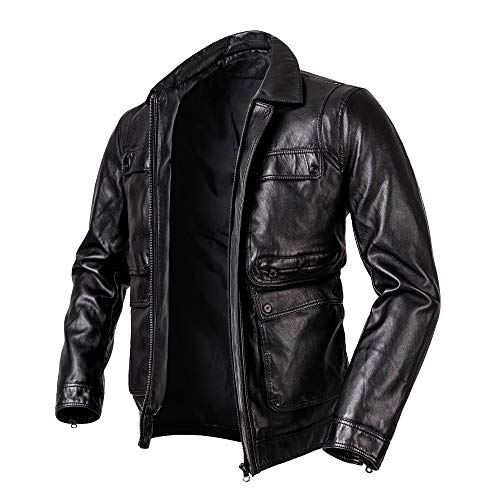 Men's Casual Stand Collar PU Faux Leather Zip-Up Motorcycle Bomber Jacket Vintage Stand Collar Pu Leather Jacke coats (BLACK-1, Large)