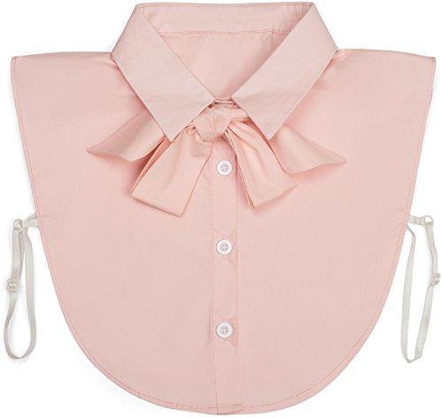 styleBREAKER Damen Blusenkragen Einsatz mit Knopfleiste und Schleife, Kragen für Blusen und Pullover, Schluppenbluse 08020003, Farbe:Rose