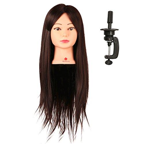 IPOTCH Tête d'apprentissage Tête à Coiffer Tête d'exercice Mannequin Head 100% Vrais Cheveux avec Titulaire - Brun + support à pince, 22