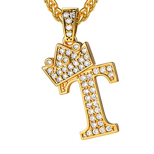 U7 Ice Out Majuscule/Capital Letter T with Crown Pendant & Resizable Wheat Chain Necklace, Gift for Men/Women, 18K Gold Plated Full Cubic Zirconia Jewelry Trendy Alphabet Necklace, P3462K