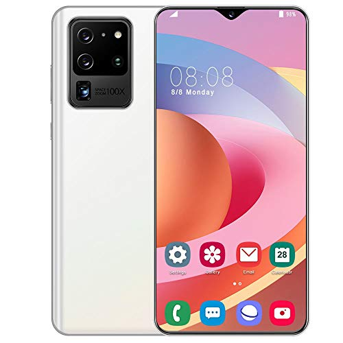 Smartphone Ohne Vertrag Günstig S20U,6,7 Zoll HD Display, 4800mAh Akku, 13MP - 24MP Kamera, 64GB ROM, 256 GB erweiterbar Dual SIM Android Einsteiger Handy,White