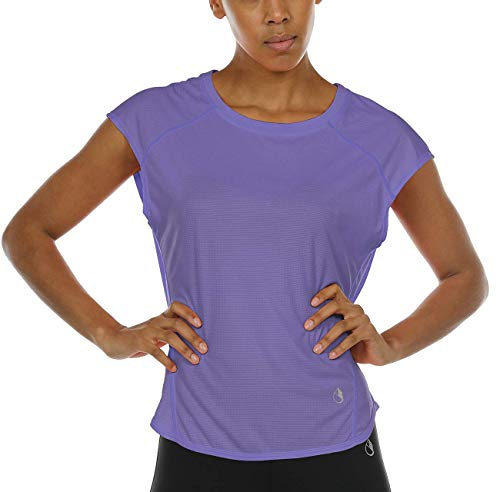 icyzone Workout Cap Sleeves Tops for Women - Fitness Gym Yoga Running Exercise T-Shirt (XL, Lavender)