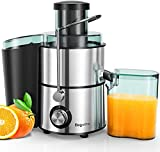 Juicers, Bagotte Centrifugal Juicer Compact Fruits and Vegetables Juice Extractor, Dual Speed Wide Mouth Juicer Machines, BPA Free, Stainless Steel, Easy to Clean