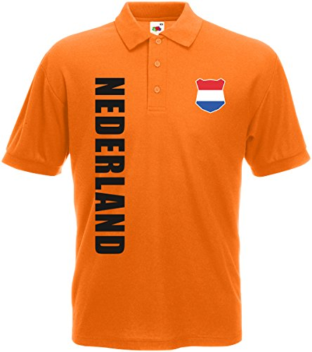 AkyTEX Niederlande Nederland EM-2020 Polo-Shirt Wunschname Nummer Orange S