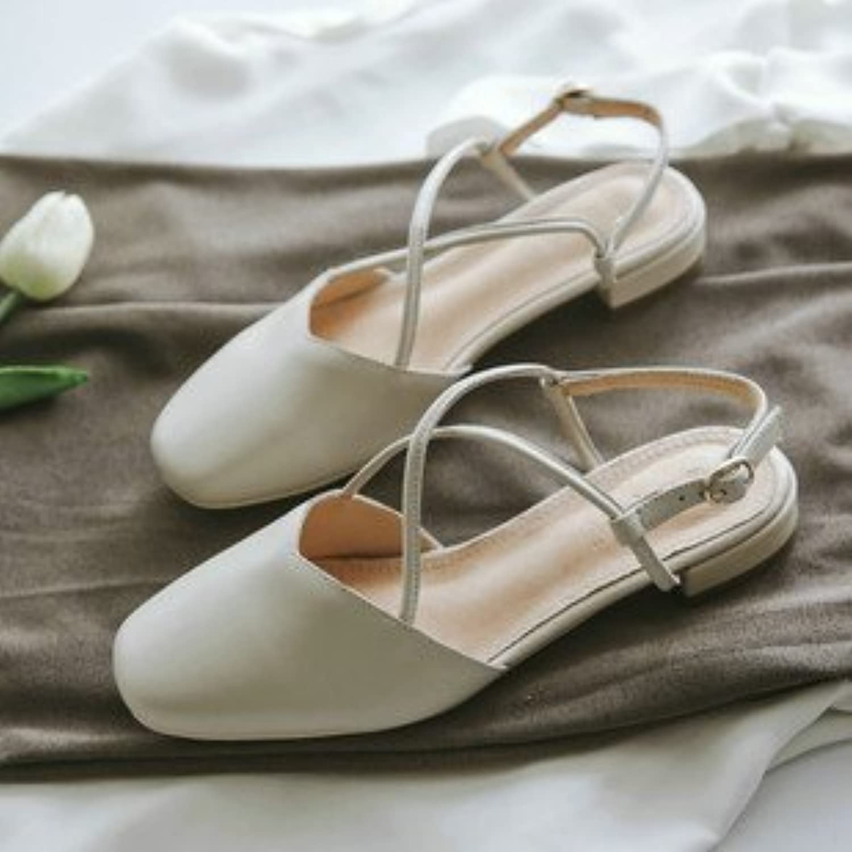 Xue Qiqi Court Schuhe Einzelne Schuhe Frauen flach für Parteichef Licht der Baotou Freizeitaktivitäten kunst Sandalen weiblichen geschlitzt B07DKK5J3W  Mode
