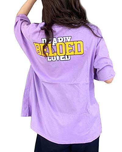 [スカイシイ] バックロゴ韓国風Tシャツ ドロップショルダー ビッグシルエット 英字ロゴ tシャツ ティーシャツ トップス 韓国風 バックロゴ ロゴ 大き