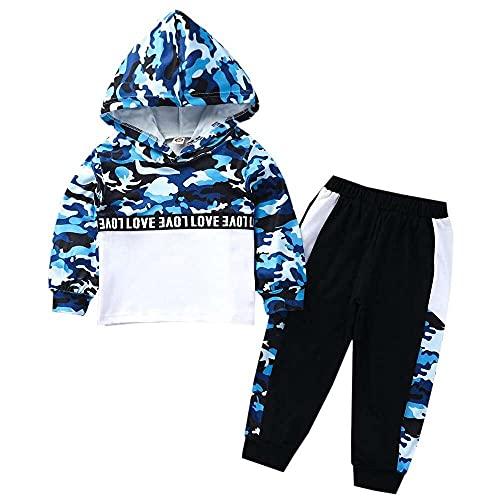 nanxing Conjunto de suéter para niño, de manga larga, estampado de camuflaje con letras de primavera, sudadera con capucha y pantalones