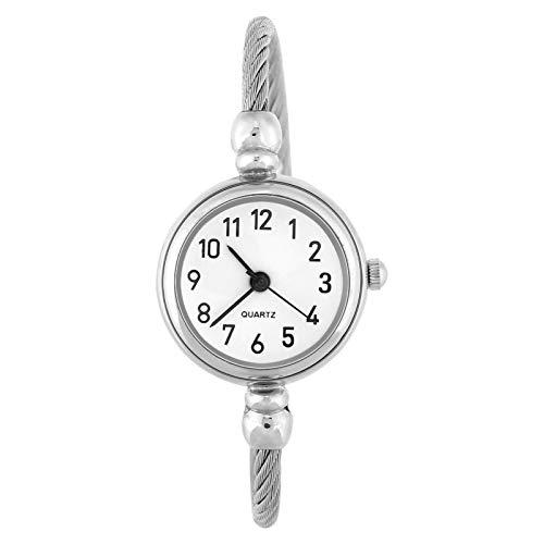 Reloj de cuarzo para mujer de 4 colores, reloj de pulsera para mujer, reloj de pulsera abierto, con correa de aleación, reloj para mujer, reloj redondo para mujer, reloj para mujer(Blanco árabe)