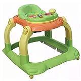 KKJKK Multifunktional Baby Lauflernhilfen Lauflernwagen mit Bremse Musikbox Abnehmbar Verstellbare Höhe Falten zum Jungen Und Mädchen, 3 Farben,Grün