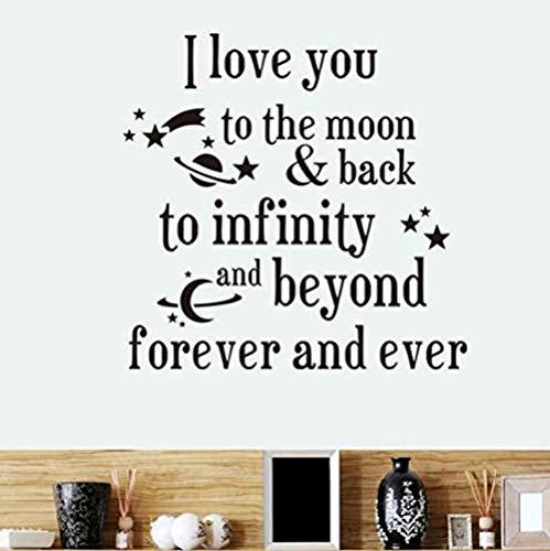 Te amo a la luna y a la espalda planetas pegatinas de pared autoadhesivo papel pintado diy extraíble arte letras calcomanía 59x80cm