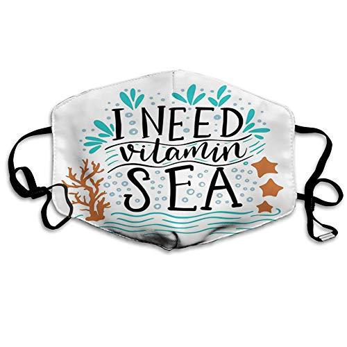 Cómoda cubierta a prueba de viento, con cita inspiradora de vitamina Mar dibujada a mano con olas de coral, estrellas de mar, decoraciones faciales impresas para adultos