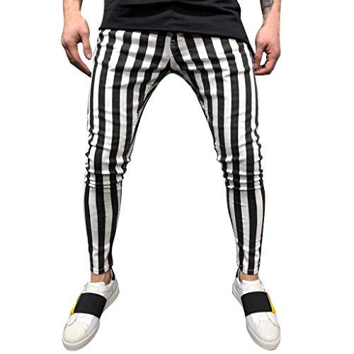 Tefamore Nouveau Pantalon de Sport pour Hommes à Rayures Estivales Fashion Stripe Fitness Pantalon de Running Sportif(Noir,Medium)