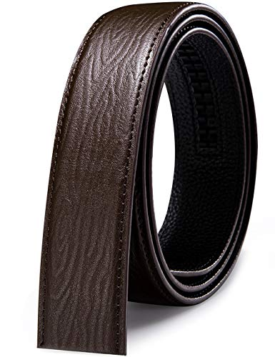 Barry.Wang - Cinturones de diseño para hombre sin níquel con hebilla automática, correa de piel auténtica, ajustable formalmente Marrón B-marrón claro Talla única