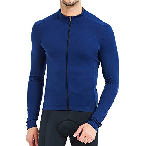 CATENA Men's Cycling Jersey Long Sleeve Shirt Running Top Moisture Wicking Workout Sports T-Shirt Blue, X-Large