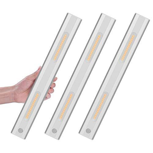 Klighten 30 LED Luz Armario con Sensor de Movimiento, Luz Recargable USB Para Armario, Magnético Luz Debajo Del Gabinete Para Armario, Cocina, Pasillo, Escaleras Blanco Cálido 3000K (3PCS)