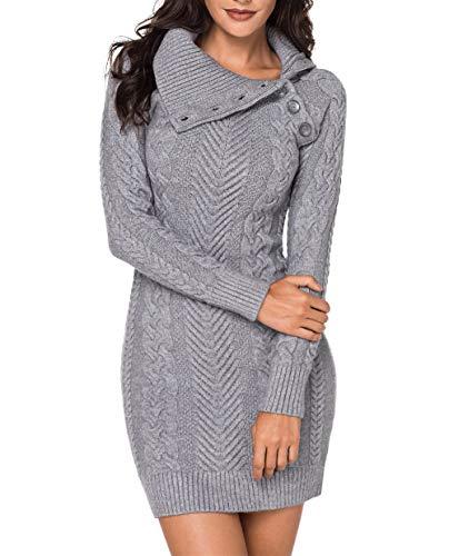 Itsmode Damen Pullover Kleid Elegant Strickkleid Casual Langarm Winterkleid Einfarbig Rollkragen Jumper Minikleid Elegante Warme Wickelkleid, 2-grau, Medium(EU40-EU42)