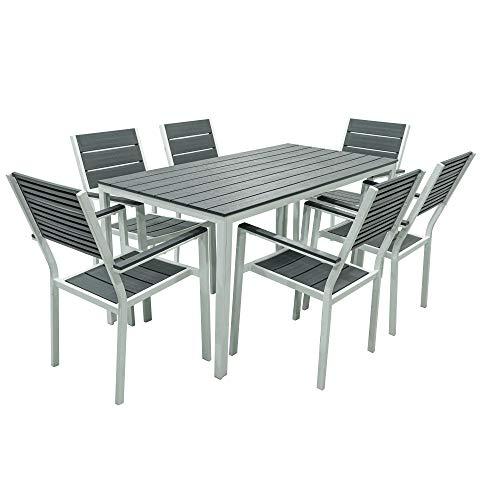 Set Tavolo con SEDIE da Giardino Completo Tavolo con 6 POLTRONE da Esterno Struttura in Metallo Bianco E DOGHE in HPDE Grigio Effetto Teak
