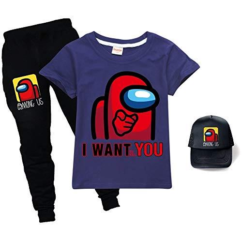 JDSWAN Unisex Kids Musterdruck Shirt + Lange Hose + Baseball Kappe 3-teiliges Set T-Shirt Jogginghose Outfits Sport Set für Among Us Jungen und Mädchen