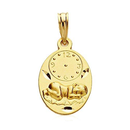 Médaille pendentif 9K Or 19mm Ovale Enfant Sous Horloge. 1,10Gr. Largeur bébé 12mm. - personnalisable - Enregistrement Inclus dans le prix