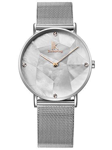 Alienwork Armbanduhr Damen Silber Metall Mesh Armband Edelstahl Weiss Perlmutt-Zifferblatt Ultra-flach Elegant