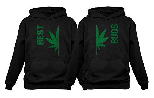 Best Buds Gift para amantes de maconha – Conjunto divertido com capuz combinando folha de cannabis, Melhor preto/botões preto, Best Small / Buds Large