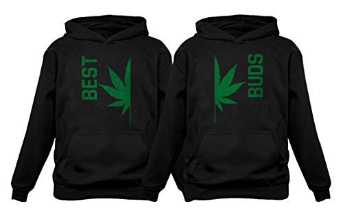 Best Buds Gift for Weed Lovers - Funny Cannabis Leaf Matching Hoodies Set Best Black Large/Buds Black XX-Large