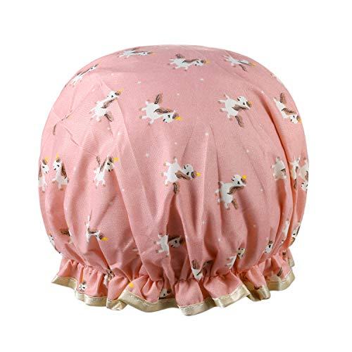 Vtrem Bonnet De Douche Bonnet De Bain Spa Femme Imperméable Réutilisable Double Couche Épaisseur PEVA [Motif Licorne - Rose]