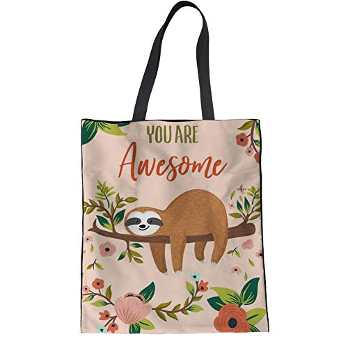 INSTANTARTS You are Awesome Sloth Print Pink Canvas Tote Reusable Grocery Bag for Women Work Travel