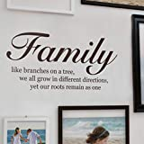 Family Like Branches On A Tree - Quote Lettering Decal Wall Decal - Chestnut Brown