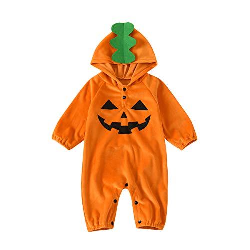 Disfraz Mameluco Bebé Unisex para Halloween Cosplay con Capucha Manga Larga con Estampado de Calabaza Malvada 3-24 Meses (Naranja, 9-12 Meses)