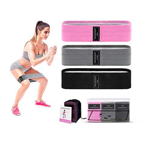 Resistance Loop Training Band Anti Slip Fabric Training Band for Legs and Butts with Instruction Guide and Carrying case 3Piece Set