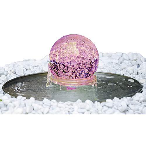 """Köhko® Glaskugelbrunnen """"Saturn"""" 21010 Springbrunnen Kugelleuchte inkl. 24 Tasten IR-Fernbedienung"""