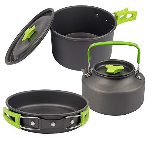 Bling Batterie de Cuisine Camping Portable Set, léger, Durable, Mini Pliant en Aluminium Pan Pot Teapot avec Sac de Rangement,Vert
