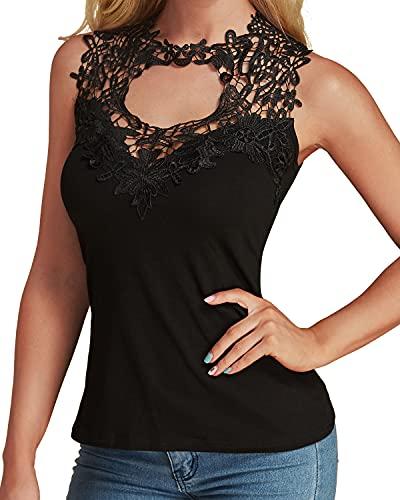 YOINS Mujer Camisetas sin Mangas Blusas Señoras de Encaje Atractivo Verano Negro-02 S/EU36-38