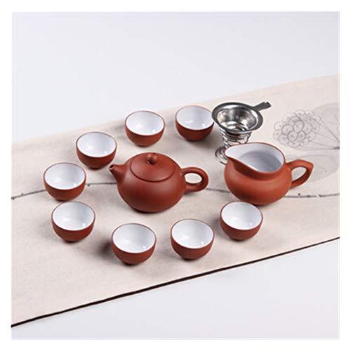 Bewitched ZHANGHANG Yixing lila Sandtee Set Keramik Kung Fu Teekanne, handgemachte lila Sand Teekanne Teetasse Gaiwan Terrineente Teezeremonie Freies Verschiffen (Color : Burgundy)