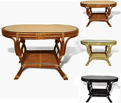 Pelangi Oval Coffee Table with Glass Top Natural Rattan Wicker ECO Handmade Design, Colonial