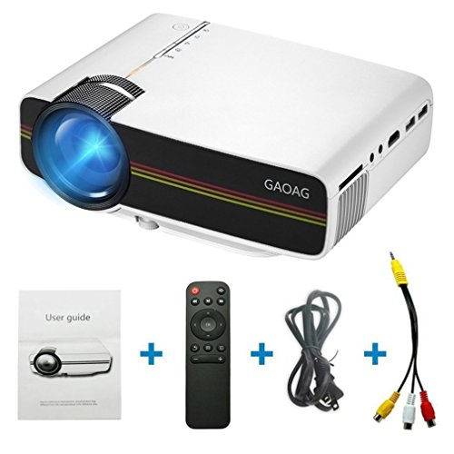 Projector, GAOAG Mini Projector Portable Video LED Projector HD for Outdoor Indoor Movie/Home Cinema Theater/Game (Black)