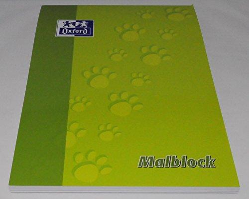 OXFORD 100050303 Malblock Schule 5er Pack A4 blanko 100 Blatt 90 g/m² hellgrün Papierblock Schulblock Zeichenblock