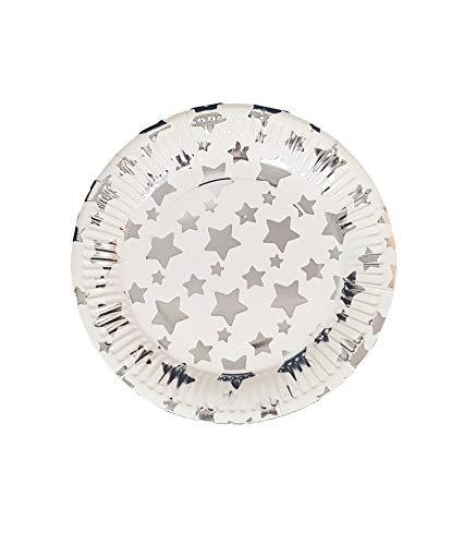 takestop® Set 48 stuks borden papier 18 cm sterren zilver Sun_7953 Stella USA en Getta verjaardag bruiloft doop feest